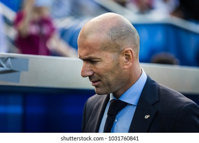 VITORIA, SPAIN - SEPTEMBER 23, 2017: Zinedine Zidane, Real Madrid coach, in action during a Spanish League match between Alaves and Real Madrid