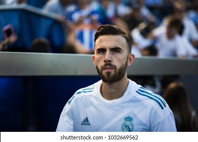 VITORIA, SPAIN - SEPTEMBER 23, 2017: Borja Mayoral, Real Madrid player, during a Spanish League match between Alaves and Real Madrid
