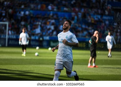 VITORIA, SPAIN - SEPTEMBER 23, 2017: Sergio Ramos, Real Madrid player, during the preheating of the Spanish League match between Alaves and Real Madrid