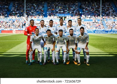 VITORIA, SPAIN - SEPTEMBER 23, 2017: Real Madrid line up for a team photo prior to the start the La Liga match between Alaves and Real Madrid