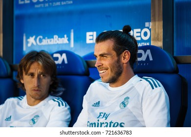 VITORIA, SPAIN - SEPTEMBER 23, 2017: Gareth Bale and Luka Modric, Real Madrid players, on the bench in the Spanish League match between Alaves and Real Madrid