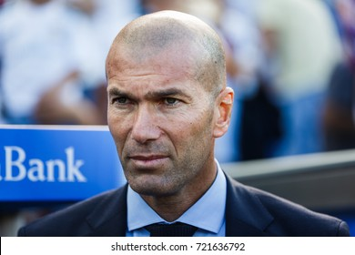 VITORIA, SPAIN - SEPTEMBER 23, 2017: Zinedine Zidane, Real Madrid coach, during a Spanish League match between Alaves and Real Madrid