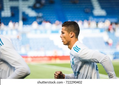VITORIA, SPAIN - SEPTEMBER 23, 2017: Cristiano Ronaldo, Real Madrid player, during the preheating in the Spanish League match between Alaves and Real Madrid