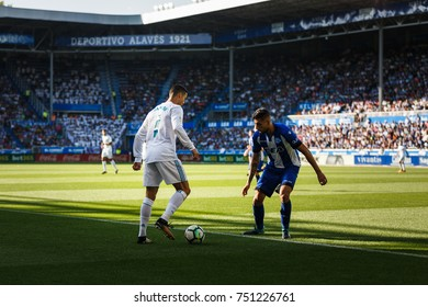 VITORIA, SPAIN - SEPTEMBER 23, 2017: Cristiano Ronaldo, Real Madrid player, in action during a Spanish League match between Alaves and Real Madrid