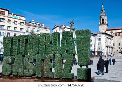 VITORIA-GASTEIZ, SPAIN - FEBRUARY 24: A view of  Virgen Blanca square. At its center stands a monument commemorating the Battle of Vitoria. February 24, 2012 in Vitoria Gasteiz, Basque Country, Spain