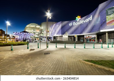 VITORIA-GASTEIZ, SPAIN - MARCH 6: Scenic view of the facade of the Boulevard shopping center at night on March 6, 2015 in Vitoria, Spain. It is the most important mall in the city.
