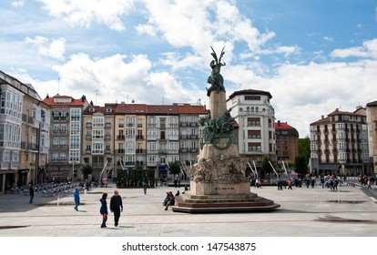 VITORIA-GASTEIZ, SPAIN - MAY 01: A view of the Virgen Blanca square. At its center stands a monument commemorating the Battle of Vitoria. May 01, 2012 in Vitoria Gasteiz, Basque Country, Spain