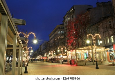 Vitosha Boulevard in Sofia (Bulgaria) in the evening. Walk 28 December 2018.