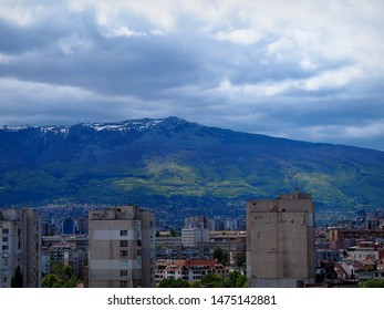 Vitosha Mountain above rooftops, Sofia, Bulgaria