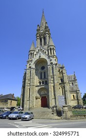 VITRE, FRANCE - JUNE 30, 2015: Saint-Martin Church. Vitre is old historic town, it is a tourist attraction of Brittany, northwestern France.