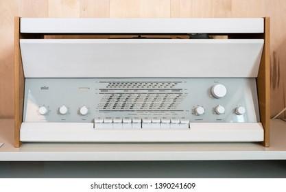 Vitsoe Leamington Spa, Warwickshire/England UK - 06.02.2018: Iconic 20c Braun early white metal and beech Atelier 1 radio designed by Dieter Rams