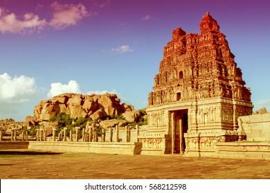 Vittala temple in Hampi, Karnataka province, South India, UNESCO world heritage site.
