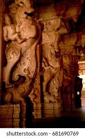 Vitthal temple sculptures at Hampi, Karnataka, India.