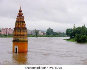 Vitthal Temple Vitthalwadi submerged in water, Pune