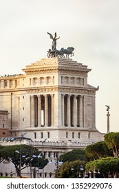 Vittoriano monument building with statue and sculpture in Rome