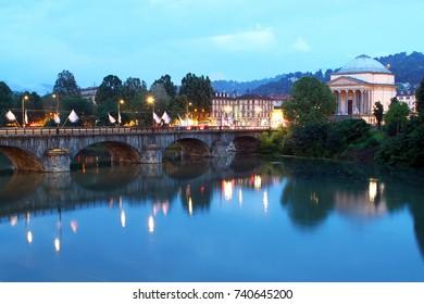 Vittorio Emanuele I bridge over Po river and the church of Gran Madre di Dio, Turin, Italy