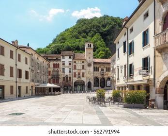 Vittorio Veneto, Italy, 28th June 2016: City centre of Vittorio Veneto, Treviso province, with Loggia Serravalle