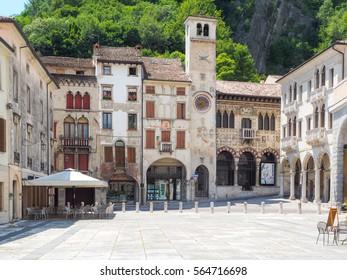 Vittorio Veneto, Italy, 28th June 2016: City centre of Vittorio Veneto, Treviso province, during sunny day with Loggia Serravalle, no people, perfect for tourist guides
