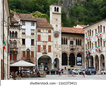 VITTORIO VENETO, Italy - July 1, 2018: Piazza Flaminio in the historic district of Serravalle, with the Loggia and the civic tower