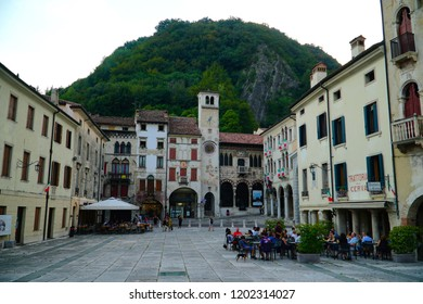 Vittorio Veneto/Italy - 6 August 2018: The old city street view of Vittorio Veneto, comune situated in the Province of Treviso, in the region of Veneto, Italy.