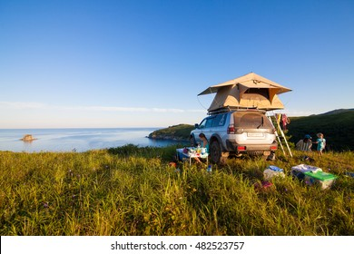 VITYAZ, RUSSIA - AUGUST 08, 2016: Mitsubishi Pajero Sport with rooftop tent. Camping life