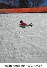 Vivaldi, South Korea- December 10, 2018: Boy playing snow at Vivaldi Ski Park
