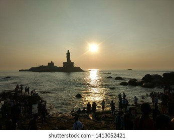 Vivekanand Rock memorial at the southern most corner of India in the Laccadive Sea in the coastal town of Kanyakumari.