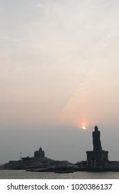 Vivekananda rock memorial statue with sunrise, Kanyakumari, India