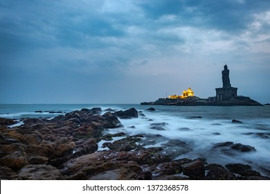 Vivekananda rock memorial and  Thiruvalluvar statue image at kanyakumari india. Image taken in Dawn from low angle long exposure.
