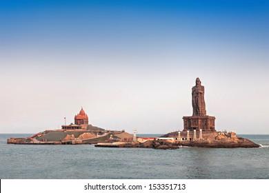 Vivekananda Rock Memorial and Thiruvalluvar Statue at sunrise, India
