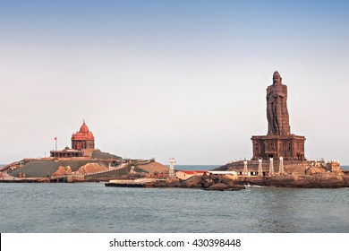 Vivekananda Rock Memorial and Thiruvalluvar Statue at sunrise, India