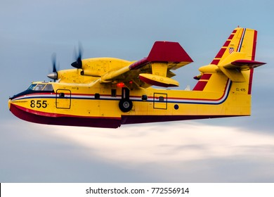 VIVERONE LAKE - October 29, 2017.Polish firefighter airplane Bombardier CL-415, Canadair 855, from Poland Arrived in Italy to help fire fighting operation at Turin. Amphibious turbo propeller airplane