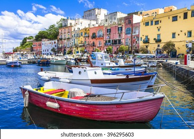 vivid beautiful Procida island, Italy