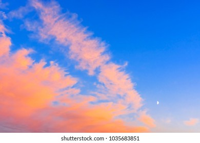 Vivid blue and scarlet clouds at White Nights