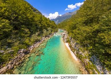 Vivid blue Soca river valley near Bovec in Triglav National Park, Julian Alps, Slovenia Europe
