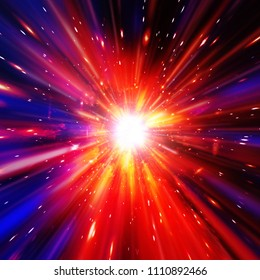 Vivid colorful background with starburst. Abstract radial lines fading into background. The elements of this image furnished by NASA.
