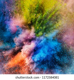 Vivid colorful holi powder in an explosion. Creative background, festival of colors.