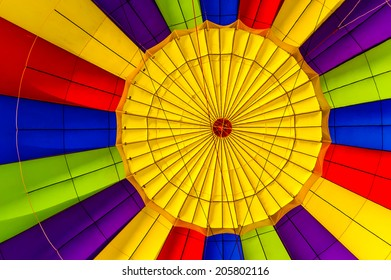 Vivid colors of a hot air balloon. Abstract and resemble a color wheel.
