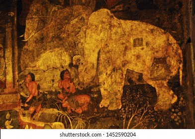 Vivid colours, mural wall-painting The paintings in the Ajanta caves predominantly narrates the Jataka tales social story. featuring Queens Kings Citizens Monks and also foreign traders.