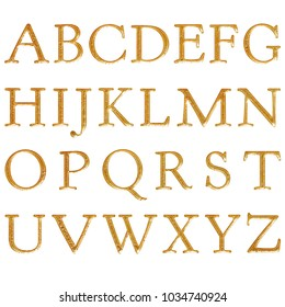 Vivid cracked gold style antique bookletter font style full alphabet capital letter set  3D illustration with a bright golden color and rough texture isolated on a white background with clipping path