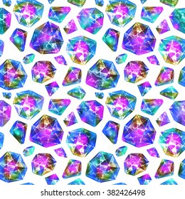 Vivid diamonds. Watercolor illustration of crystal. Seamless pattern.
