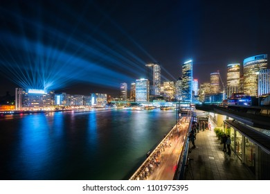 Vivid Festival 2018 at East Circular Quay, Sydney, Australia. Vast play of light from Harbour Bridge to Circular Quay incorporates interactive lighting full color laser show.