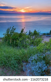 Vivid Lake Michigan Sunset at Sleeping Bear Dunes in Northern Michigan, USA