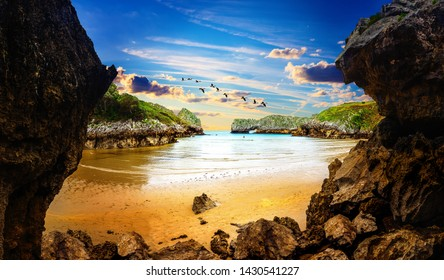 Vivid landscape of beach and coast with mountains and vegetation.Berellin beach. Stunning scenery of coastline, beach and cliffs in Cantabria, Spain.