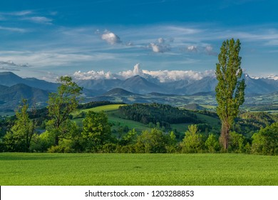 Vivid landscape with geen hills and high mountains. Alpine landscape in Provence, France
