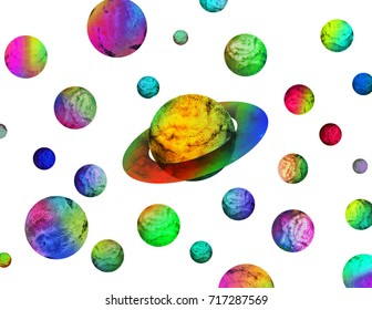 Vivid planet illustration isolated on white. Colorful vibrant fantastic cartoon design style