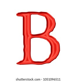 Vivid red silk or shiny plastic letter B (uppercase or capital) in a 3D illustration with a shining glossy smooth surface and jagged font style isolated on a white background with clipping path.