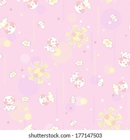 Vivid repeating floral - For easy making seamless pattern use it for filling any contours