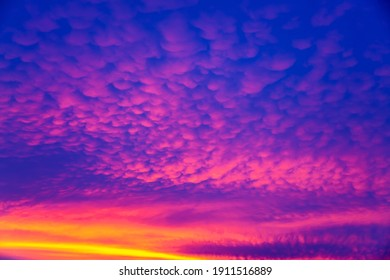 Vivid saturated beautiful sunset sky in pink, purple and blue colors. Abstract amazing sunset background. - Shutterstock ID 1911516889