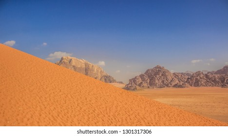 vivid summer panorama scenery landscape of bright yellow and blue picturesque Middle East desert, world heritage touristic site concept